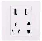 86型墙壁开关插座 2.1A双USB插座五孔